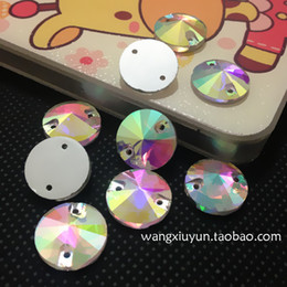 Wholesale Button Element - 8mm,10mm,12mm,14mm,16mm,18mm Sew On Glass Crystal Round Rivoli Rhinestone , Sewing Crystal Button