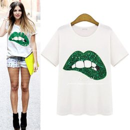 Wholesale Fabric Puffs - 2017 Summer New Lips Embroidered Women's Tops & Tees Audel fabric O-Neck Short Sleeved T-Shirt White with Green Red Lips S-XL