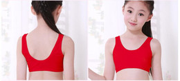 Wholesale Bra Teenage - DHL Girls Training Bra 100% Cotton Teenage Puberty Bra Without Rims Middle Students Sports Underwaist Thin Cup Bra For 10-15T