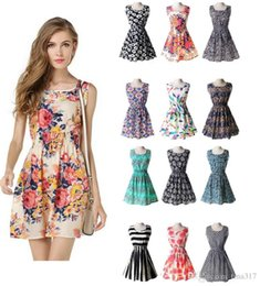 Wholesale Chiffon Cheapest Dress - 25 Designs Cheapest New Brand 2016 Summer dress Women Casual Print Sleeveless Dress Chiffon Stripe Floral print Elastic Waist Beach Dresses