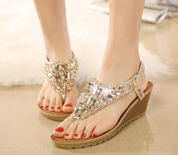 Wholesale Silver Gem High Heels - 2015 New Women Flip Flops Bohemian Summer Sandals Shoes Silver Gold Shiny Luxury Gem Beading low-heeled wedge sandals ePacket free shipping