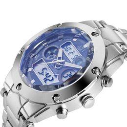 Wholesale Japanese Quartz Chronograph Movements - Dual Time Watch Date Day Alarm Chronograph Men Wristwatch Quartz Sport Japanese Movement Analog Digital Cheap wristwatch band