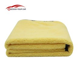 Wholesale Large Microfiber Cloths - Wholesale- KKmoon Practical Large Size Microfiber Car Cleaning Towel Cloth Multifunctional Wash Washing Drying Cloths 92*56cm Yellow
