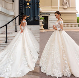 Wholesale Jewel Designer Wedding Dresses - 2018 Long Sleeves Ball Gowns Wedding Dresses Modest Sheer Neckline Lace Appliques Bridal Gown Court Train Robe Mariage