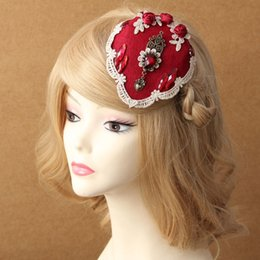 Wholesale Vintage Red Flower Hair Clip - wedding hair clips Wedding hair pin burgundy Flower Hair Accessories Bridal Head Hats For Christmas Wedding Party dress Vintage Fascinator