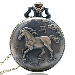 wholesale horse watches Coupons - Wholesale-New Bronze Horse Quartz Pocket Watch Necklace Pendant Gift P407