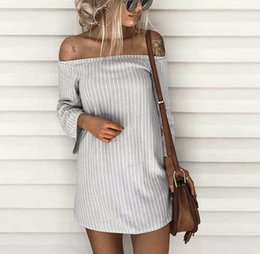 Wholesale Wholesale Cheap Bodycon Dresses - Wholesale- 2017 New Summer Striped Dresses Women T-Shirt Dress Slash Neck Off-shoulder Bodycon Dress Vestidos Listrado Curto Cheap Femme