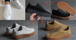 Wholesale Creepers Sneakers - 2016 Rihanna x Suede Creeper Black Star White Black Women Men Casual Shoes, Fashion Ladies Rihanna shoes sneakers women men 36-44