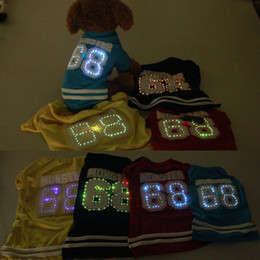 Wholesale Halloween Led Shirts - 4 Color Spring Small Medium Dog Glowing Sport T-Shirt Breathable Polyester LED Cloth for Pets 20pcs lot