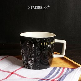 Wholesale Square Ceramic Cup - New Classic black Starbucks New York Time Square City Mug Coffee cup 14oz ceramic mug with spoon coaster