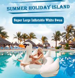 Wholesale New Pool - 1.5M Inflatable Flamingo Float Giant Swan New Swan Inflatable Floats Swimming Ring Raft swimming pool toys For Kids And Adult DHL free A401