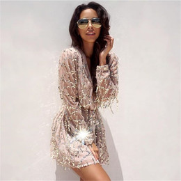 Wholesale Rhinestone Covered Mini Dress - Fringed Sequined Dress Women Beach Cover Up Deep V Collar Embroidery Lantern Long Sleeved Gown Sequins Tassels Strappy Women Summer Dress