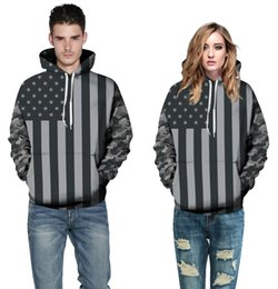 Wholesale American Flag Pullover - Europe and the explosion of black and white American flag positioning digital printing Europe Code couple Hoodie men