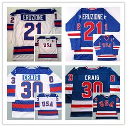 Wholesale Usa Olympics Ice Hockey - 17 Jack Ocallahan 21 Mike Eruzione 30 Jim Craig 1980 USA Hockey Shirts Olympic,Stitched 1980 Miracle On Ice Hockey Running Jerseys