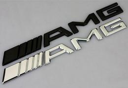 amg adesivos Desconto 10 pcs Carro Prata Cromo Preto 3 M AMG Decal Adesivo Emblema Do Logotipo Emblemas para Mercedes CL GL ML ML A B C E Sclass