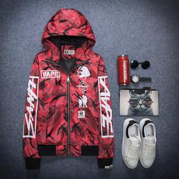 Wholesale Korean Casual Frocks - Men tide thin jacket Korean Slim camouflage hooded jacket young men's casual frock coat