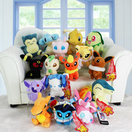 Wholesale Mew Poke - Poke plush toys 16 styles sylveon Cyndaquil Snorlax Lapras Mew Dragonite Chikorita 13-20cm Soft Stuffed Dolls toy New years Gifts