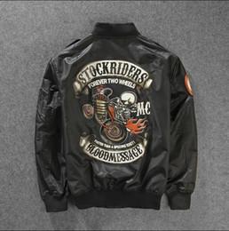Wholesale Rock Stocks - Fall-2016Skull Printed Two Wheel Stock Rider Men Vintage Rock&Roll Harley Punk Band Ma-1 Flight Jacket Pilot Bomber Jacket