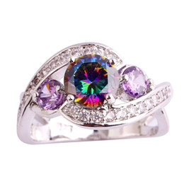 Wholesale Amethyst Ring 11 - AAA CZ Lab 18K White Gold Plated Silver Rainbow Topaz Gems Ring Size 6 7 8 9 10 11 Amethyst Jewelry Free Shipping Wholesale