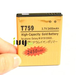 Wholesale T759 Batteries - 5pcs lot 2450mah EB484659VU Gold Replacement Battery For Samsung Galaxy W i8150 T759 W689 S8600 S5690 S5820 M930 R730 i677 T589 Batteries