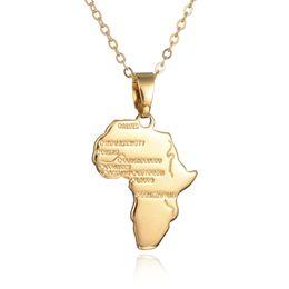 Wholesale Unique Maps - New Fashion Hip Hop Jewelry African Pendant Unique 18K Gold Plated Women Men African Map Pendants Necklaces