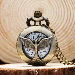 Wholesale Pocket Watch Games - Wholesale-Small Size Retro Vintage the Hunger Game Falcon Pattern Pocket Watch P539