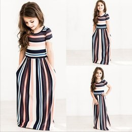 Wholesale Summer Rainbow Beach Dress - Kids Girls Summer 2017 Fashion Maxi Dress Cute Princess Rainbow Stripe Beach Dress Baby Girl Vestidos