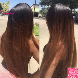 Wholesale Ombre U Part Wigs - Virgin Brazilian Silky Straight Ombre U Part Wigs Human Hair Two Tone Color T#1b 30 Upart Human Hair Wig For Black Women