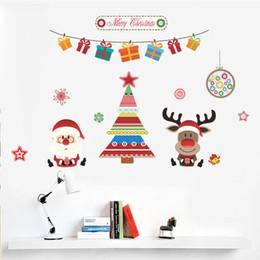 Wholesale Christmas Home Window Stickers - Merry Christmas Wall Sticker DIY Santa Claus Xmas Tree Decoration Home Decor Christmas deer Window Stickers