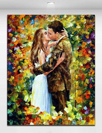Wholesale Art Abstract Painting Oil Lover - Framed Wedding Kiss in Flowers Palette Knite Oil Painting Romantic Lover,Handpainted Modern Wall Art Oil Painting on Canvas Multi sizes 176