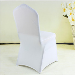 Wholesale Fold Chair Covers - Free Shipping Universal White Polyester Spandex Wedding Chair Covers for Weddings Banquet Folding Hotel Decoration Decor #TCR-81