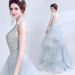 Wholesale Grey Evening Gown Jacket - grey color Prom Dresses lace beadings Princess Dresses Evening Wear Tulle Quinceanera Special Ball Gown party dress Evening Gowns
