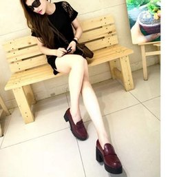 Wholesale Burgundy Pumps For Women - Autumn round head small leather shoes joker of England college for women's shoes with high wind restoring ancient ways with light mouth thi
