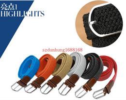 Wholesale Plain Metal Belt Buckles - hot 150PCS new 80 colors Mens Womens Canvas Plain Webbing Metal Buckle Woven Stretch Waist Belt canvas Braided Belts