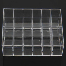 Wholesale Clear Makeup Case Organizer - Wholesale-Clear Acrylic 24 Lipstick Holder Display Stand Cosmetic Organizer Makeup Case # 9014 Fress shipping