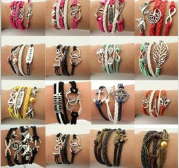 Wholesale Mutilayer Braid Leather Bracelet - Mutilayer Braided Leather Handmade Bracelet Love Infinity Anchor ID Bracelets Love Peach Heart Cross Bird Charm Bracelets