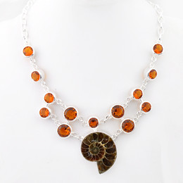 Wholesale Wholesale Ammonite Fossils - Luckyshine 2Pcs Classic Real Ammonite Fossil Brazil Citrine 925 Sterling Silver Plated Necklaces Russia Australia USA Canada Chain Necklaces