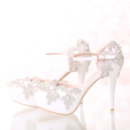 Wholesale White Bride Pumps - White Bridal Wedding Dress Shoes with Ankle Straps Round Toe Crystal Bride Shoes Platform Formal Dress Shoes Prom Party Pumps