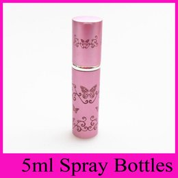 Wholesale Metal Search - 6 colors 5ML butterfly refillable anodized aluminum glass perfume atomizer bottle travel butterfly spray scent case 2016 Hot Search