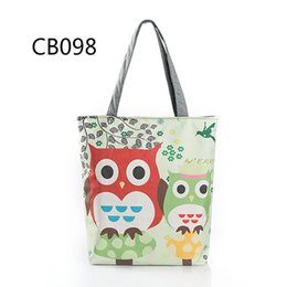 Wholesale Embroidery Dress Shop - 2017 cross border owl embroidery women handbags female canvas single shoulder bags cute animal print tote shopping bags