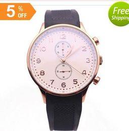 Wholesale Rubber Marker - luxury brand watches men gold markers black rubber strap watch chronograph quartz 371482 gold watch mens dress watches