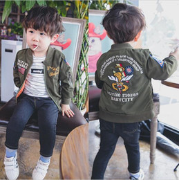 Wholesale Boy Coat Army - 2016 Spring new boys girls bomber jackets children soldier pilot coats kids outerwear autumn army green cardigan