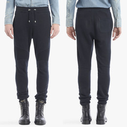 Wholesale Edge Jersey - Black Cotton Jersey Biker Sweatpants Man 2018 NEW Ribbed Knee Panels And Edges Pockets Boys Jogging Sweat Trousers