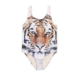 Wholesale Bathing Tiger - 2016 Summer One Piece Kids Swimsuit Tiger Print Swimsuit for Girls Brand new Kids Swimwear Girls Bathing Suits Girls Swimwear