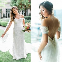 Wholesale Vintage French Beads - 2017 Vintage Full French Lace Wedding Dresses with Wrap Off Shoulder Beaded Backless Plus Size Elegant Wedding Bridal Gowns Robe de mariee