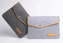 Wholesale Microfiber Logo - Wholesale Woolen Felt Envelope Laptop Bag Cover Case Sleeve For Ipad Tablet Macbook Customized Size and Logo