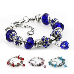 Wholesale Sterling Silver Murano Style Bracelet - 4 Colors Fashion 925 Sterling Silver Daisies Murano Glass&Crystal European Charm Beads Fits Charm bracelets Style Bracelets