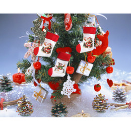 Wholesale Wholesale Christmas Stocking Stand - new Christmas santa claus+snowman 4pcs set 2pairs socks stocking candy gift bag tree stand Hanging for Decorations Xmas season Home Party