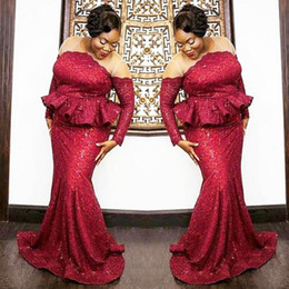 Wholesale Peplum Lace Dress - Plus Size South African Prom Dresses 2018 Dark Red Sequined Long Sleeves Evening Gowns Sheer Neck Peplum Mermaid Women Party Vestidos