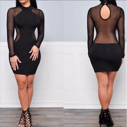 Wholesale Casual Night Long Dress - 2016 Women Summer Sexy Dress Plus Size Casual Bandage Bodycon Club Party Dresses Vestidos Robe Long Sleeve Backless Black Mesh Dress